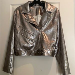 Faux leather jacket, warm silver NWOT